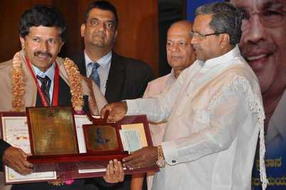 Prof. Satish Dhawan Young Engineer State Award 2012, to Dr.Amai Mahesh by the Honorable Chief Minister of Karnataka, on June 16, 2014 at the Award ceremony held at JN TATA Auditorium, IISc, Bangalore.